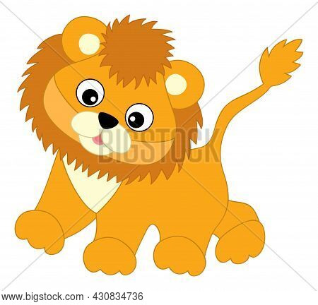 Cute Happy Baby Lion Walking. Vector Baby Lion. Lion Cub Vector Illustration