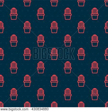 Red Line Cactus Peyote In Pot Icon Isolated Seamless Pattern On Black Background. Plant Growing In A