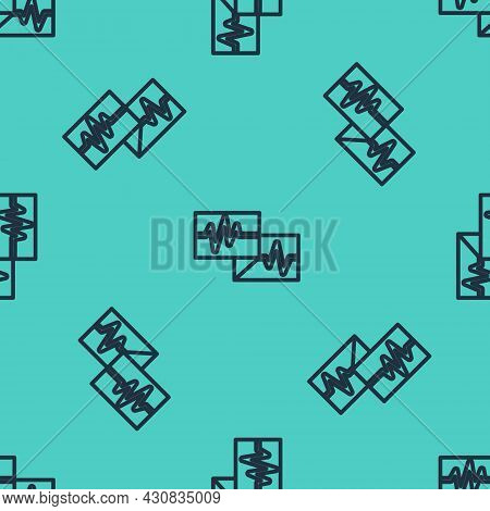 Black Line Computer Monitor With Cardiogram Icon Isolated Seamless Pattern On Green Background. Moni