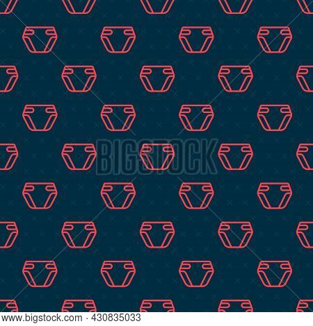 Red Line Adult Diaper Icon Isolated Seamless Pattern On Black Background. Vector