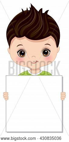 Cute Dark-haired Boy With Hazel Eyes Girl Holding Banner For Your Text To Customise. Little Boy Hold