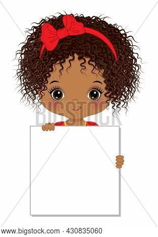 Cute Little Native American Girl Holding Blank Frame For Your Text To Customise. Beautiful Girl Hold