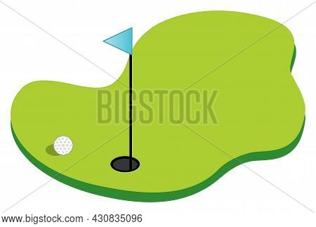 Image Of Golf Course With Flag Pole And Golf Ball On White Background. Golf Course Vector Illustrati