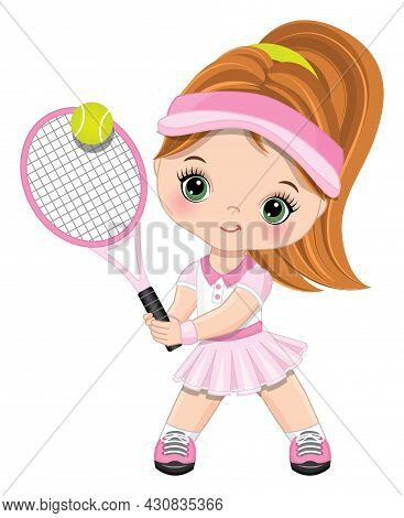 Cute Little Girl Wearing Pink And White Sport Outfit Playing Tennis. Little Girl Is Redheaded With P