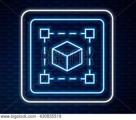 Glowing Neon Line Geometric Figure Cube Icon Isolated On Brick Wall Background. Abstract Shape. Geom