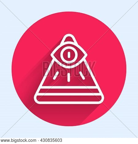 White Line Masons Symbol All-seeing Eye Of God Icon Isolated With Long Shadow. The Eye Of Providence