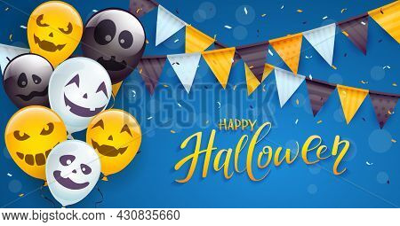 Set Of Orange, White And Black Balloons With Scary Smiles, Colored Pennants And Streamers On Blue Ba