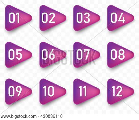 Arrow Bullet Point Triangle Flags With Colorful Gradient. Vector