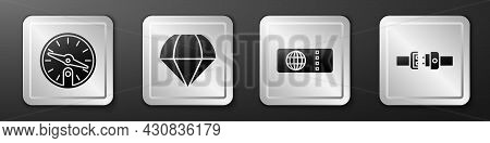 Set Compass, Parachute, Airline Ticket And Safety Belt Icon. Silver Square Button. Vector