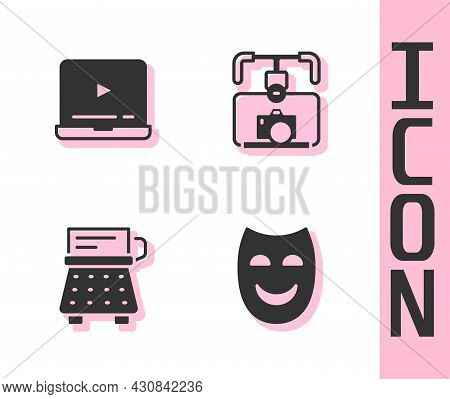 Set Comedy Theatrical Mask, Online Play Video, Retro Typewriter And Gimbal Stabilizer With Camera Ic