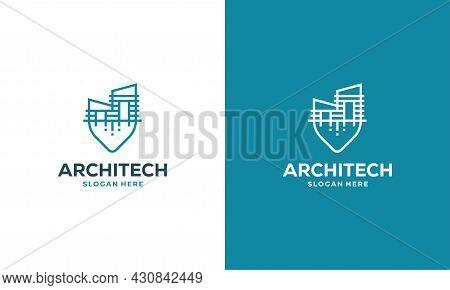 Building House Point Logo Designs Concept Vector, Construction Logo Template Symbol Icon, Real Estat