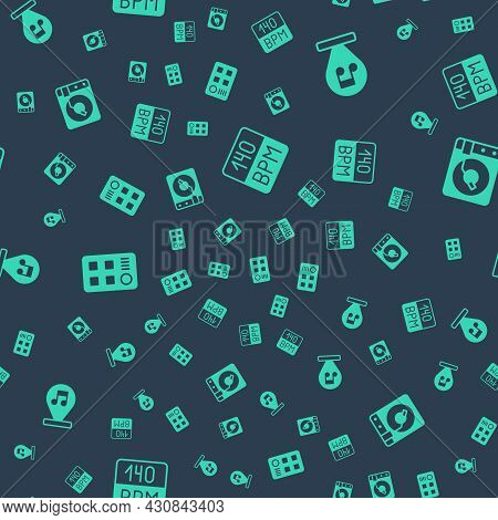 Set Bitrate, Music Note, Tone, Drum Machine And Vinyl Player With Vinyl Disk On Seamless Pattern. Ve