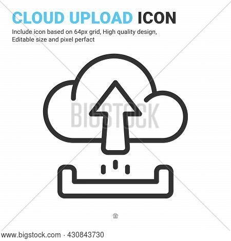 Cloud Upload Icon Vector With Outline Style Isolated On White Background. Vector Illustration Upload