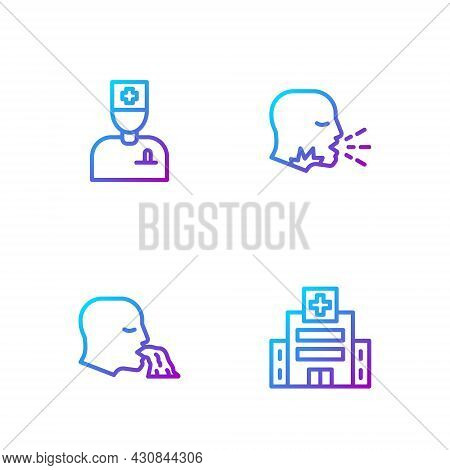 Set Line Medical Hospital Building, Vomiting Man, Male Doctor And Man Coughing. Gradient Color Icons