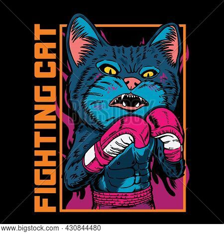 Vector Graphic Illustration Of Cat Boxer Cartoon With Vintage Retro Street Boxing Style In Black Bac