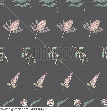 Brown And Pastel Colored Australian Native Flower Seamless Repeat Pattern. Beautiful Hand Drawn Vect
