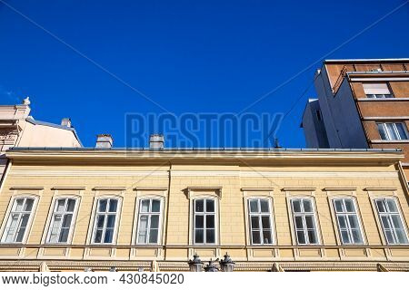 Typical Austro-hungarian Facade Of An Appartment Residential Building In A Street Of Old Town, Stari