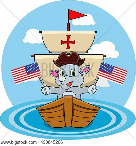 Happy Columbus Day America With Cute Rhinoceros And Ship In Sea, Cartoon, Mascot, Animals, Character