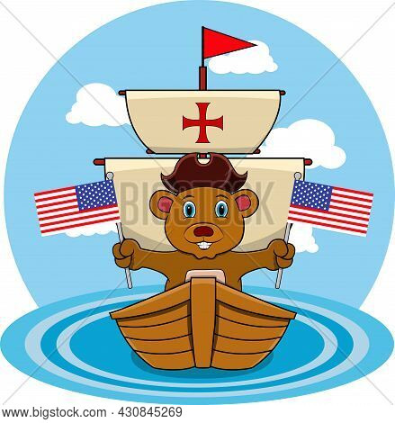 Happy Columbus Day America With Cute Bear And Ship In Sea, Cartoon, Mascot, Animals, Character, Vect