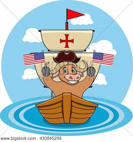 Happy Columbus Day America With Cute Buffalo And Ship In Sea, Cartoon, Mascot, Animals, Character, V