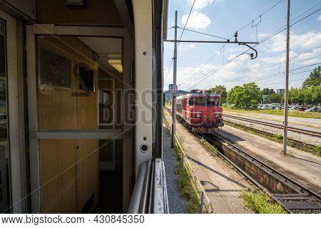 Ljubljana, Slovenia - June 17, 2021: Slovenian Railways (slovenske Zeleznice) Electric Locomotive Se