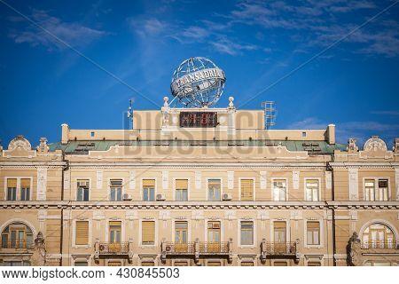Rijeka, Croatia - June 17, 2021: Logo Of Transadria On Their Iconic Globe On Their Office In Rijeka.