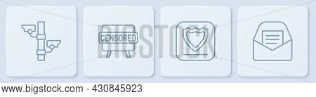 Set Line Security Camera, Shield, Censored Stamp And Mail And E-mail. White Square Button. Vector