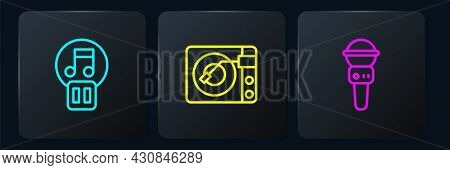 Set Line Pause Button, Microphone And Vinyl Player With Vinyl Disk. Black Square Button. Vector