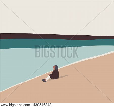 Woman Is Sitting Alone By The Lake During Sunset Moment. Calm Rest. Flat Style - Vector. Summer Time