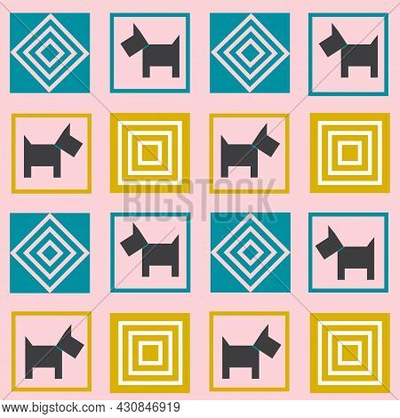 Pattern With Dogs. Geometric Squares In Patchwork Style With Animals. Vector Illustration. For Use I