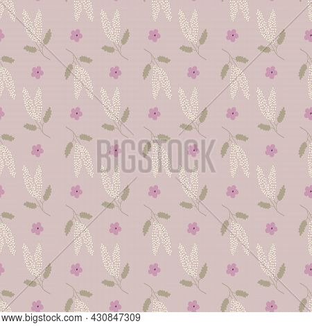 Soft Pink, Cream And Green Butterfly Bush Flower Seamless Repeating Pattern. Beautiful Hand Drawn Ve