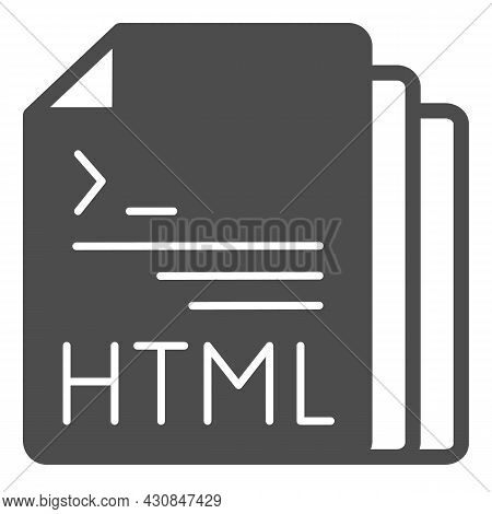 Html Code Document Files Solid Icon, Programming Concept, Html Doc Vector Sign On White Background,