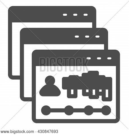 Dialog Windows With Site Visits Statistic Solid Icon, Web Development Concept, Webpage Vector Sign O