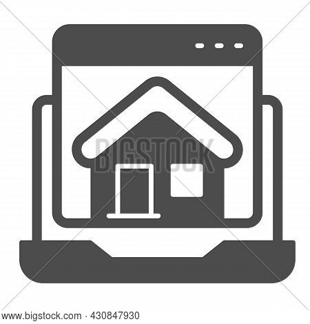 Laptop, Homepage, Computer Window, House, Website Solid Icon, Ui Concept, Home Page Vector Sign On W
