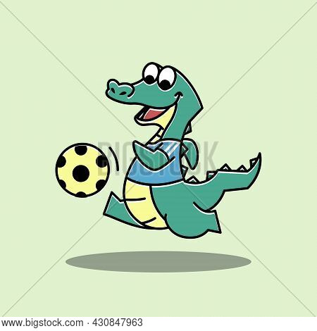 Crocodile Alligator Football Soccer Sport Funny Cute Character Cartoon Mascot