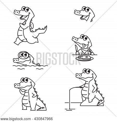 Crocodile Alligator Funny Cute Character Cartoon Mascot Vector Line