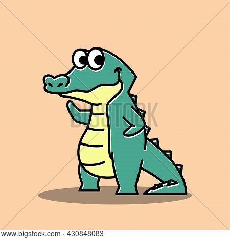 Friendly Crocodile Alligator Waving Hand Funny Cute Character Cartoon Mascot