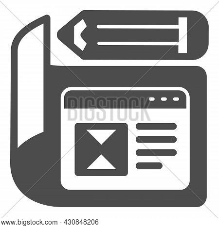 Paper With Website Project And Pencil Solid Icon, Web Design Concept, Site Developing Vector Sign On