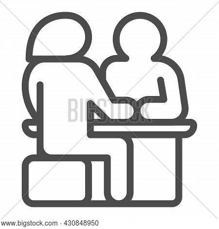 Couple Sitting At The Table, Date Line Icon, Dating Concept, Man And Woman Dating Vector Sign On Whi