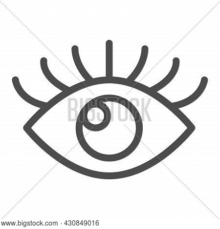 Open Eye With Eyelashes, Look Line Icon, Human Body Concept, Sight Vector Sign On White Background,