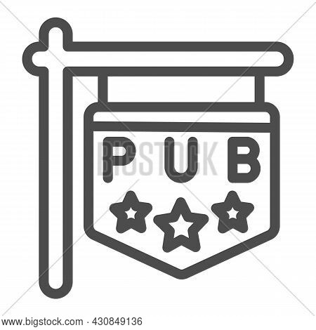 Pub Signboard With Stars, Sign, Signage Line Icon, Bars And Pubs Concept, Pub Emblem Vector Sign On