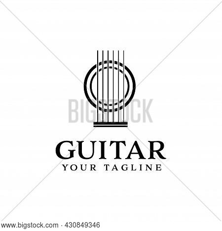 Abstract Guitar Logo Isolated On White Background Vector Design. Classic Country Music Logo, Guitar