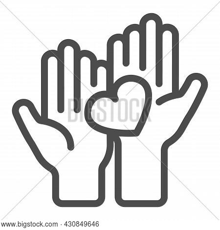 Two Hands Holding Heart Line Icon, Dating Concept, Couple Holds Heart Vector Sign On White Backgroun