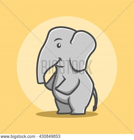 Elephant Cartoon Vector Illustration, Cute Cartoon Elephant