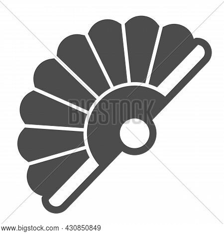 Classic Japanese Folding Fan Solid Icon, Theater Concept, Hand Fan Vector Sign On White Background,