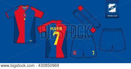 Soccer Jersey Or Football Kit Mockup Template Design For Sport Club. Football T-shirt Sport, Shorts,
