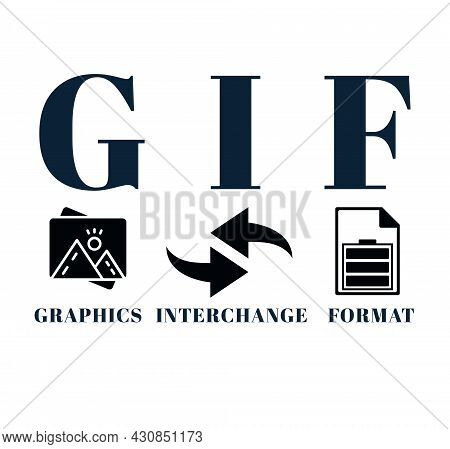 Gif Graphic Interchange Format With Simple Icon And Keywords On White Background