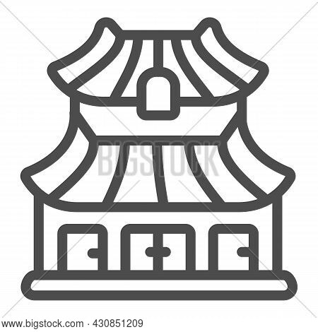Classic Japanese Dwelling House Building Line Icon, Asian Culture Concept, Japan Home Vector Sign On