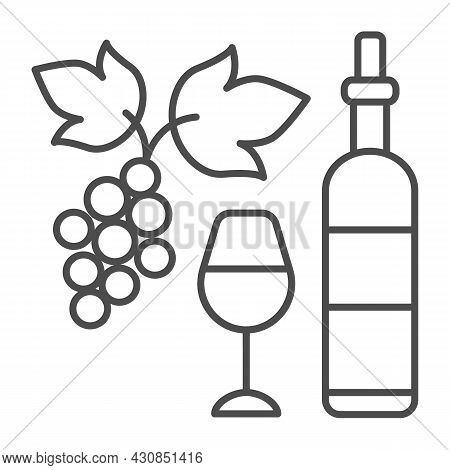 Wine Bottle, Glass And Bunch Of Grapes Thin Line Icon, Winery Concept, Full Wineglass Vector Sign On