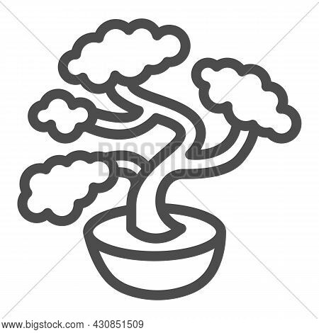 Bonsai Tree, Potted Plant Line Icon, Asian Culture Concept, Japanese Miniature Tree Vector Sign On W